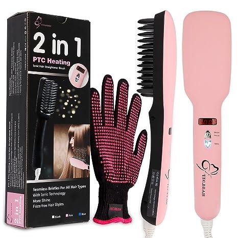 2 en 1 Alisador de cabello Cepillo PTC calor pelo 5 Ajustes de calor para diferentes