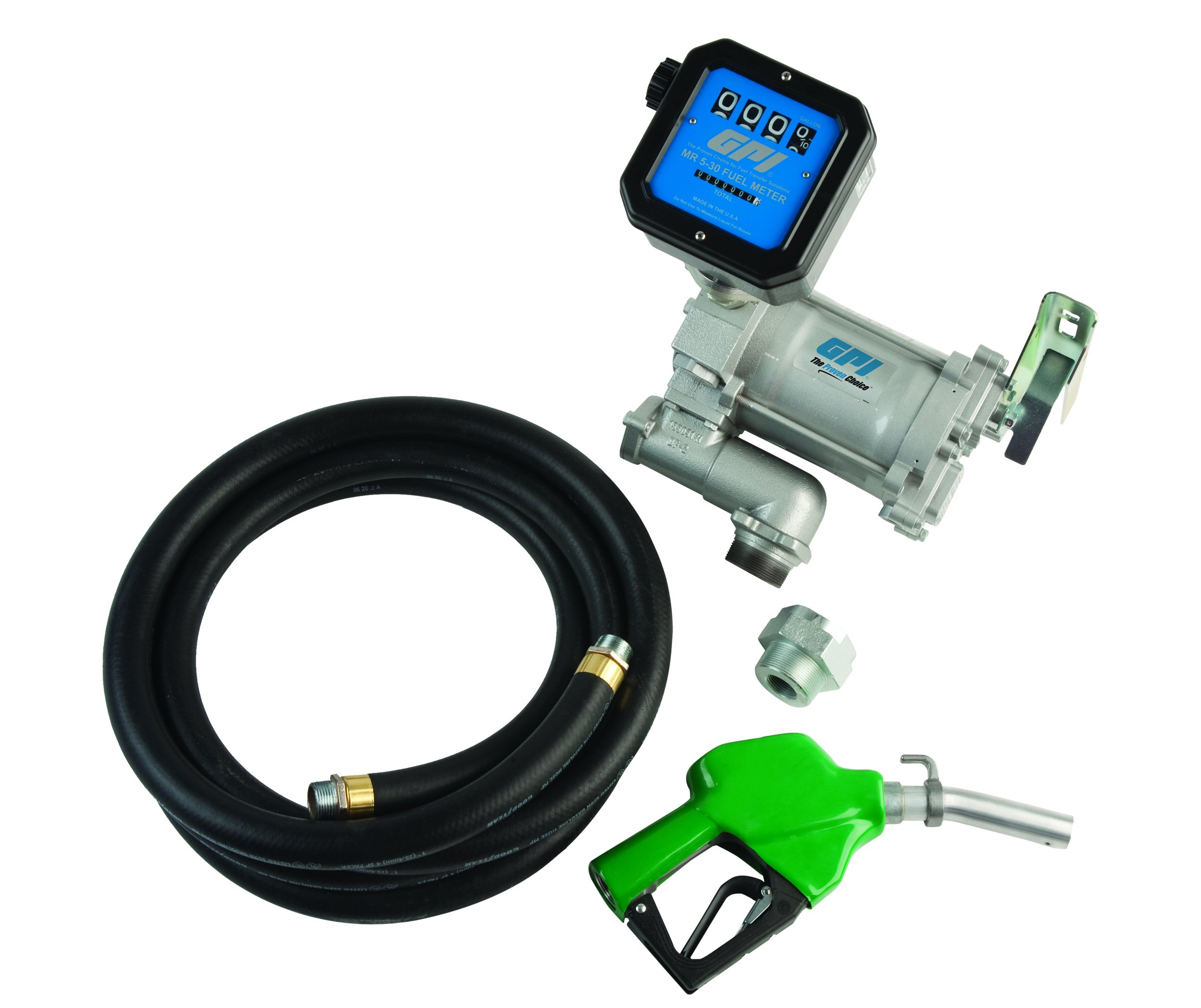 GPI 133600-35, M-3120-AD/MR530-G8N, Pre-Assembled High Flow Cast Iron Fuel Transfer Pump with Meter, 20 GPM, 115-VAC, 4-Digit Batch Display, 1-Inch NPT X 18-Foot Fuel Hose, Automatic Diesel Nozzle by GPI® The Proven Choice®