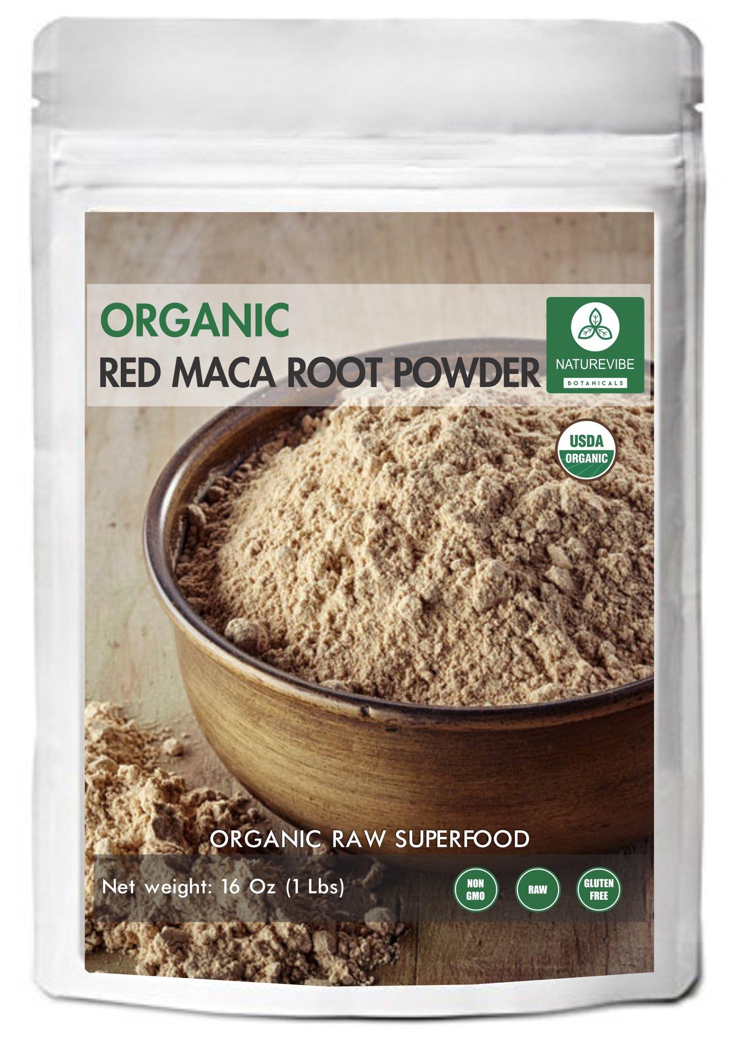 Naturevibe Botanicals USDA Organic Red Maca Powder (1lb) - Gluten-Free & Non-GMO (16 ounces) | Balance Hormone Level |Improves Stamina, Mood and Memory