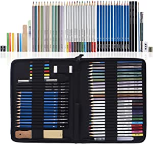 H & B 51-Piece Colored Pencils Set, Drawing Pencils and Sketching Kit, Complete Artist Kit, Includes Graphite Pencils, Metallic Color Pencils, Water-soluble Color Pencils Sketch Kit for Drawing