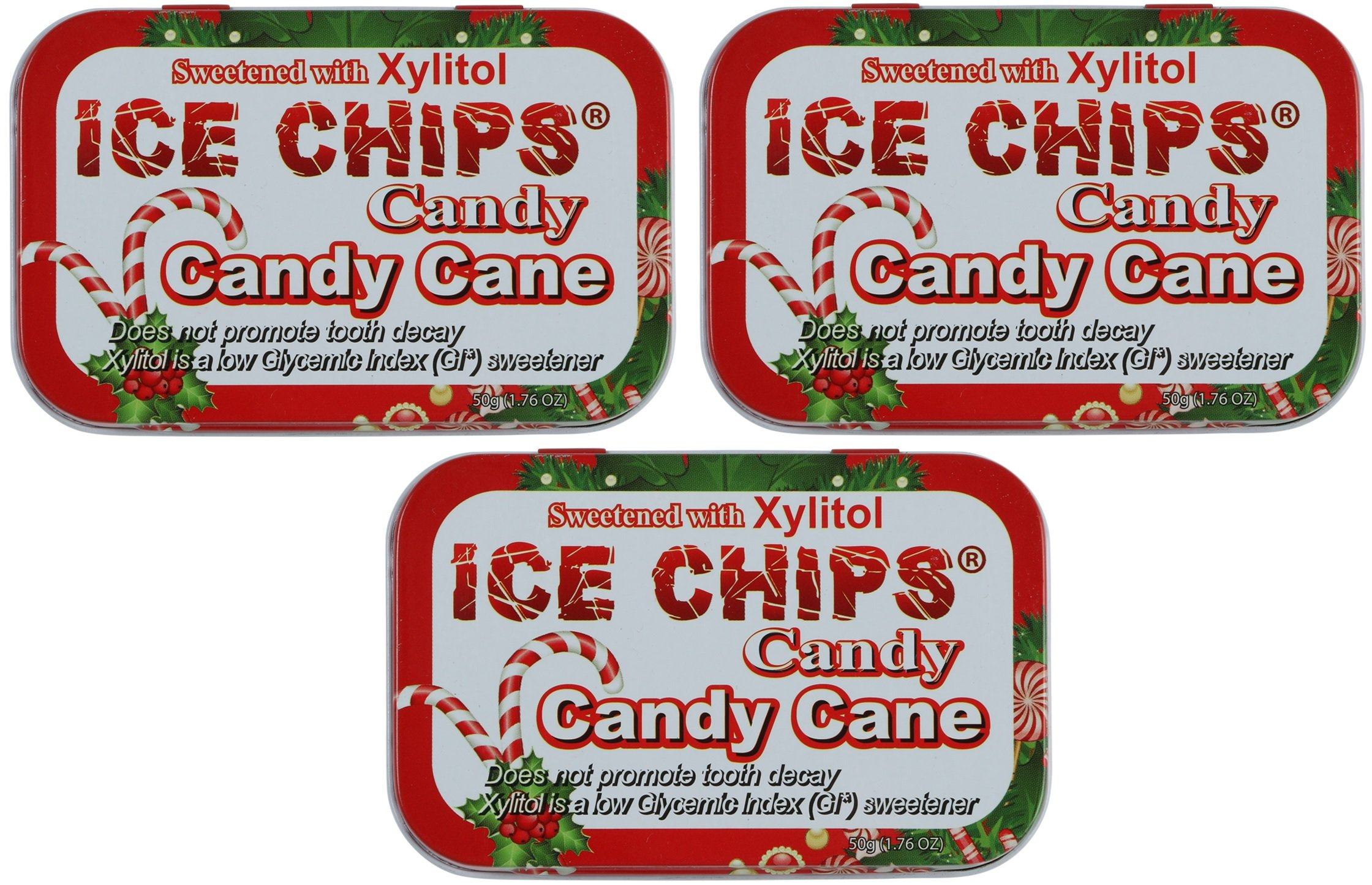 ICE CHIPS Xylitol Candy Tins (Candy Cane, 3 Pack)