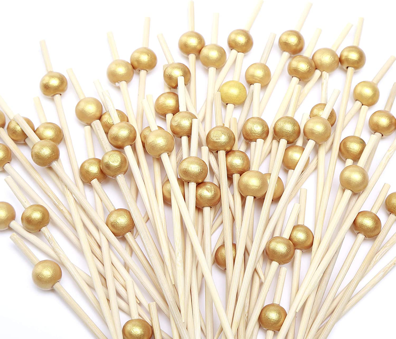 Cocktail Picks 100 Counts Handmade Sticks Wooden Toothpicks Cocktail Sticks Party Supplies - Matt Gold Pearl