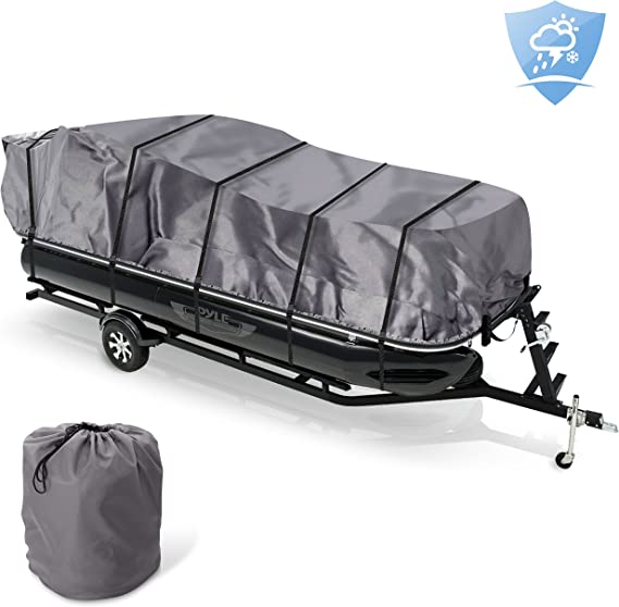Pyle PCVHP660 Storage Boat Pontoon Cover Waterproof Weather Resistant Damage Protection Marine Grade Canvas for 17 to 20 Trailer Sound Around