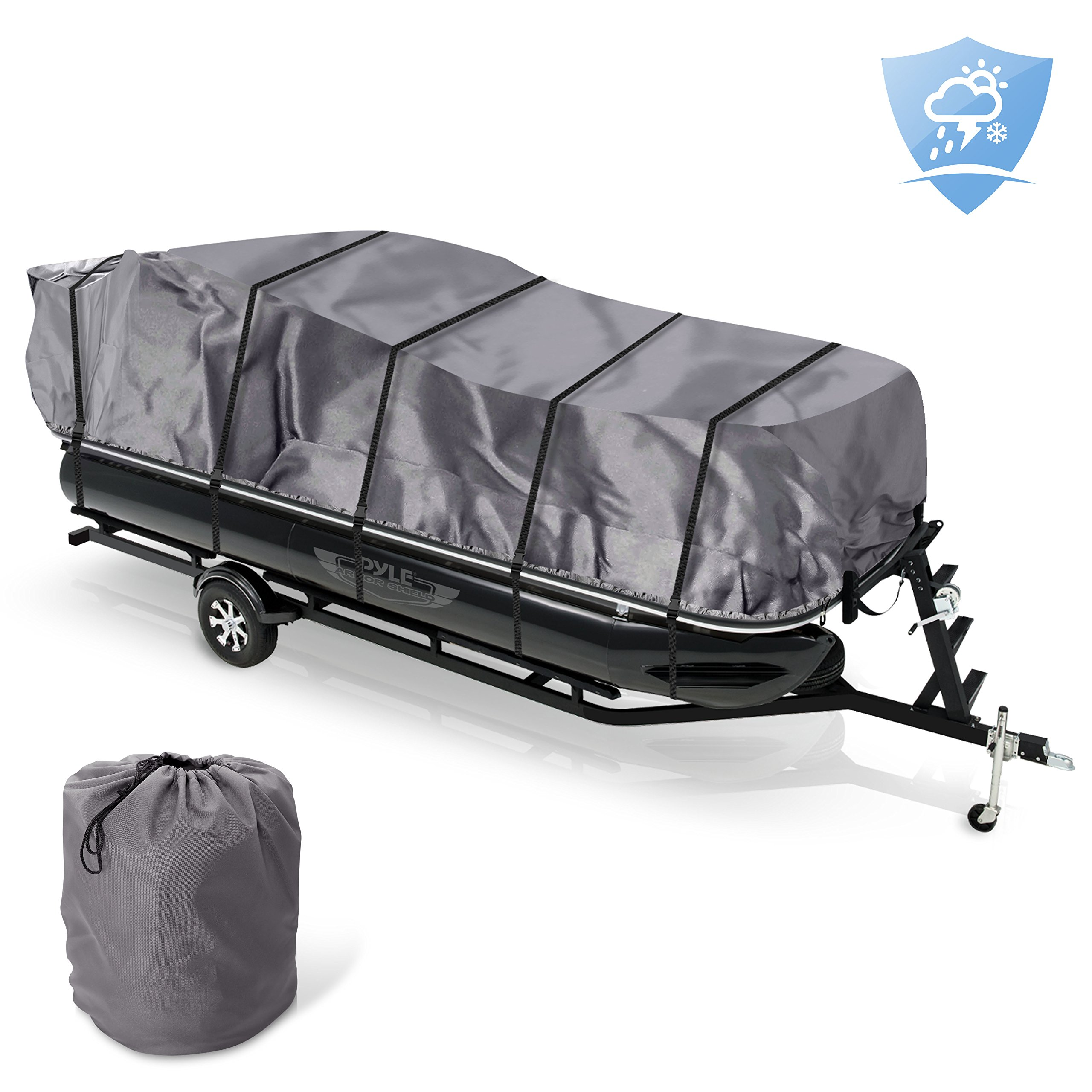 Pyle Protective Storage Boat Cover - Universal Waterproof, Mildew and Weather Resistant with UV Sun Damage Protection Armor Shield Marine Grade Canvas for 25 to 28ft Trailer Pontoon - PCVHP662