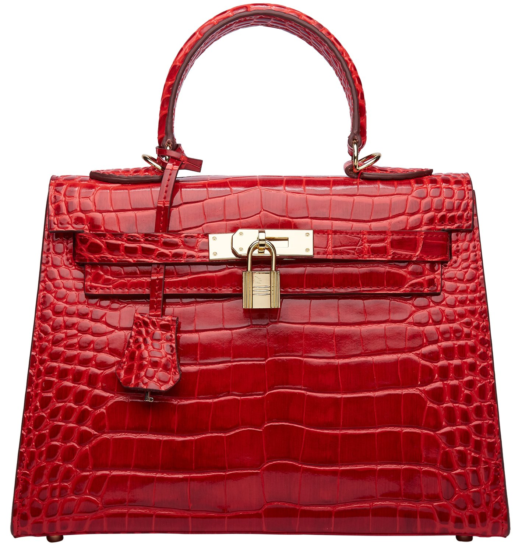 Women's Padlock Crocodile Leather Tote Top Handle Handbags Cherish Kiss (28CM, Croco Red)