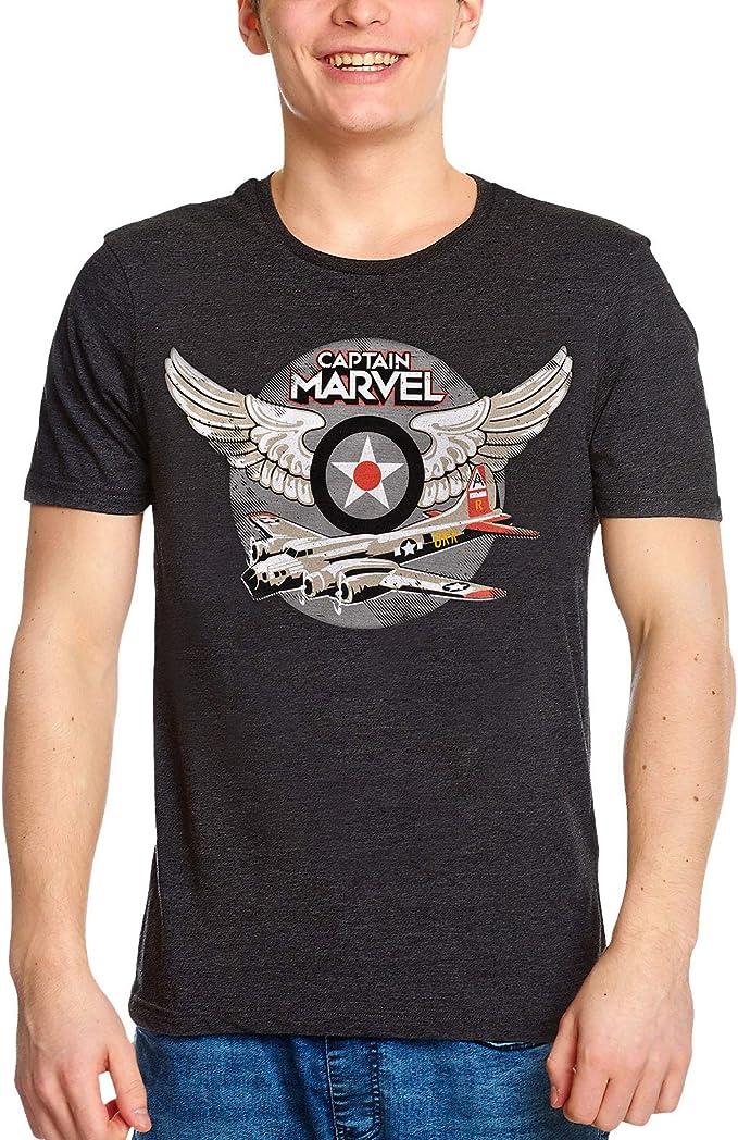 Capitán Marvel Camiseta Hombre Air Force Pilot Logo Gris - XL: Amazon.es: Ropa y accesorios