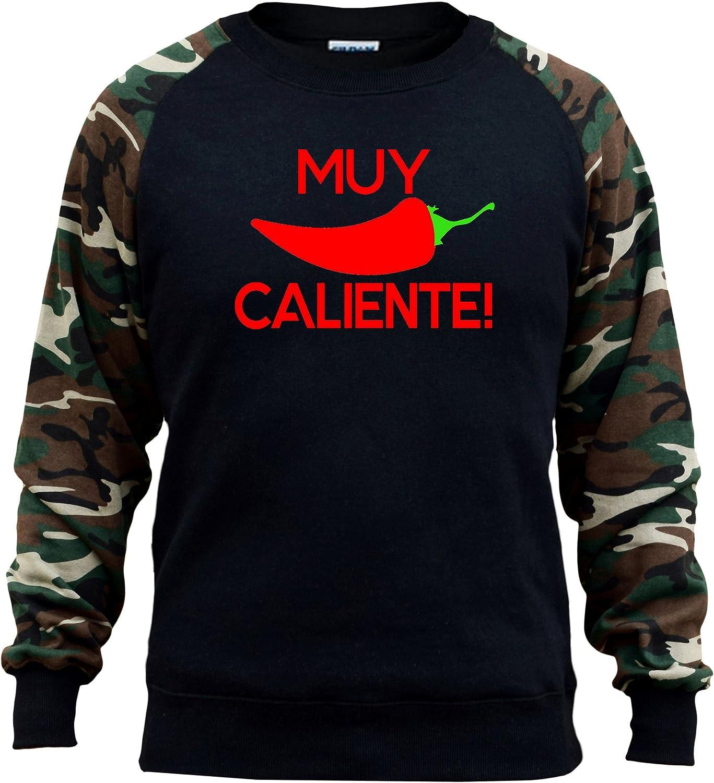 Mens Fiesta Maracas V372 Black//Camo Raglan Baseball Sweatshirt Black