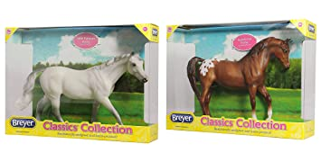 Breyer Classics Horse Toy Bundle with Grey Selle Francaise and Chestnut Appaloosa