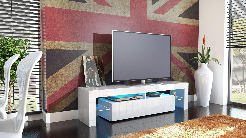 Meuble Tv Bas Lima Corps En Blanc Fa Ades En Blanc En Haute  # Meuble Tv Haut Led Laque Blanc