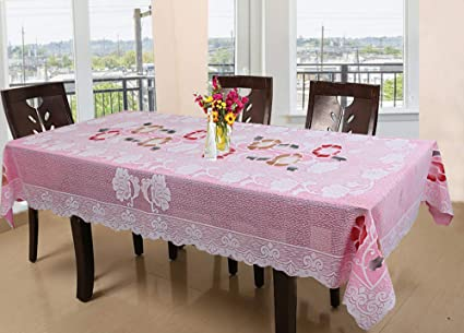 Kuber Industries Floral Cotton 6 Seater Dinning Table Cover - Pink