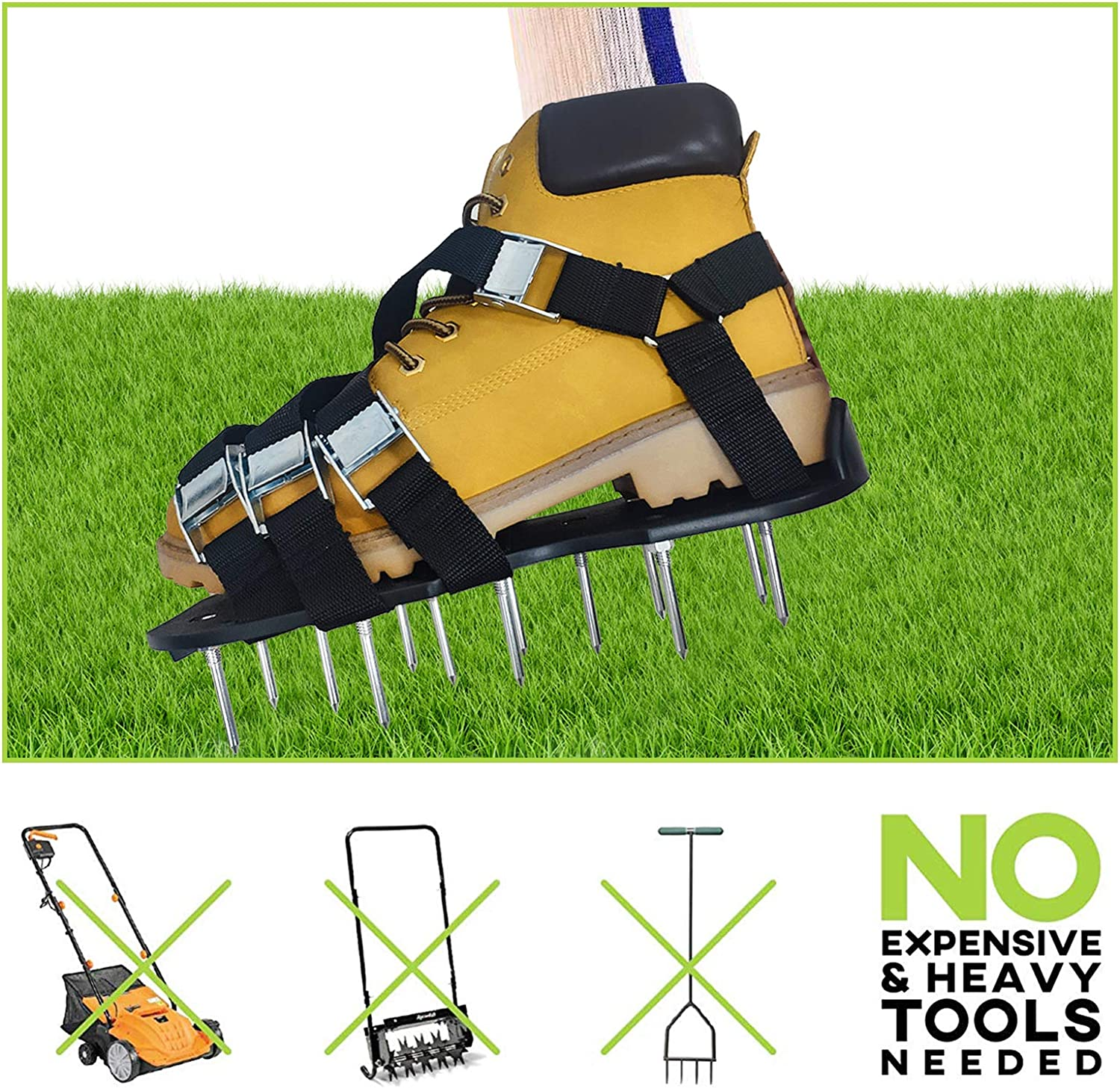 Easiest to USE Lawn Aerator Sandal Heavy Duty Spiked Sandals for Aerating Your Lawn or Yard Oiuros Lawn Aerator Shoes