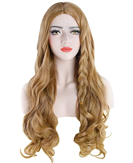 Discoball® Womens Light Blonde largo rizado peluca llena con Bang Cenicienta Fancy Cosplay Party Hair
