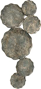 WHW Whole House Worlds Abstract Gold Metal Wall Art, 6 Connected Rustic Roundels, Incised Burst Pattern, Artisan Rubbed Pale Blue Accent Patina, 17.25 x 35.5 Inches