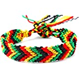 Unisex Red Gold Green Black African Rasta Bracelet Adjustable Shamballa 19-27cm