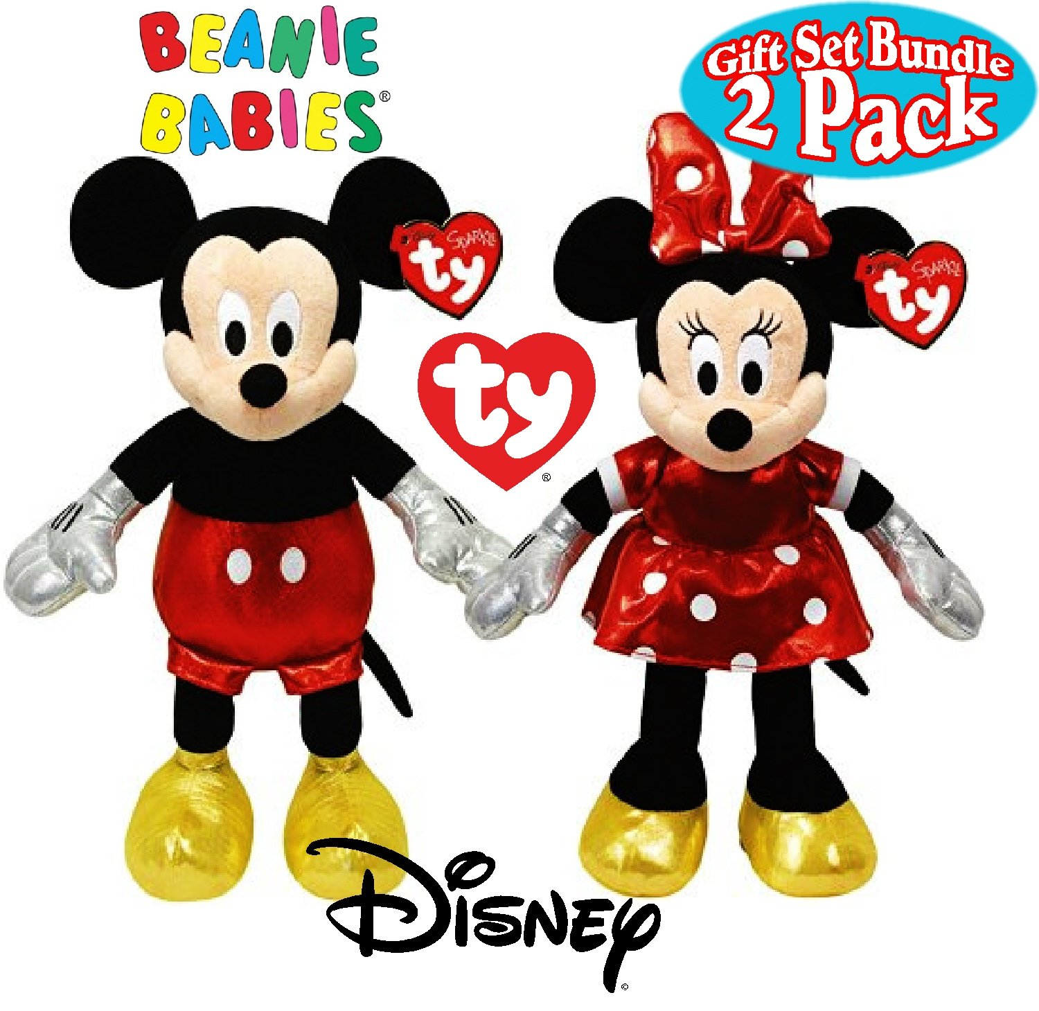 Amazon.com  TY Beanie Babies Sparkle Classic Disney Mickey   Minnie Mouse  Gift Set Bundle - 2 Pack  Toys   Games 90b3a4473cf