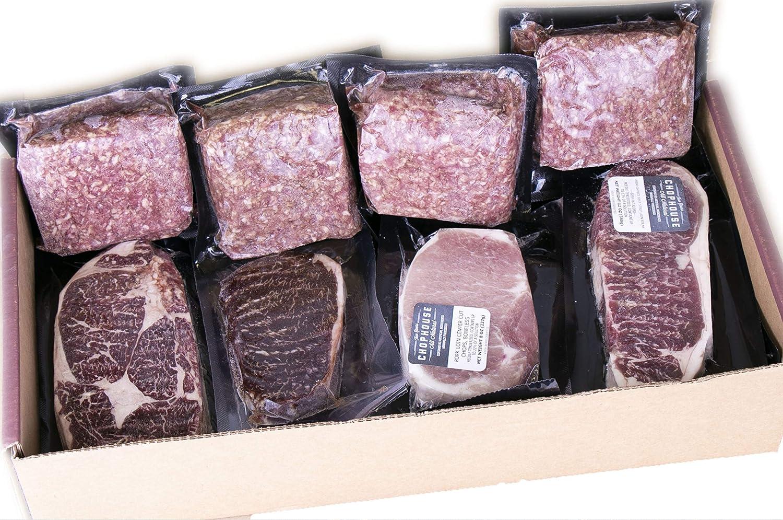 PREMIUM BEEF & PORK COMBO BOX (16 PIECE) Precision cut Steaks & Chops + Small Batch Burger