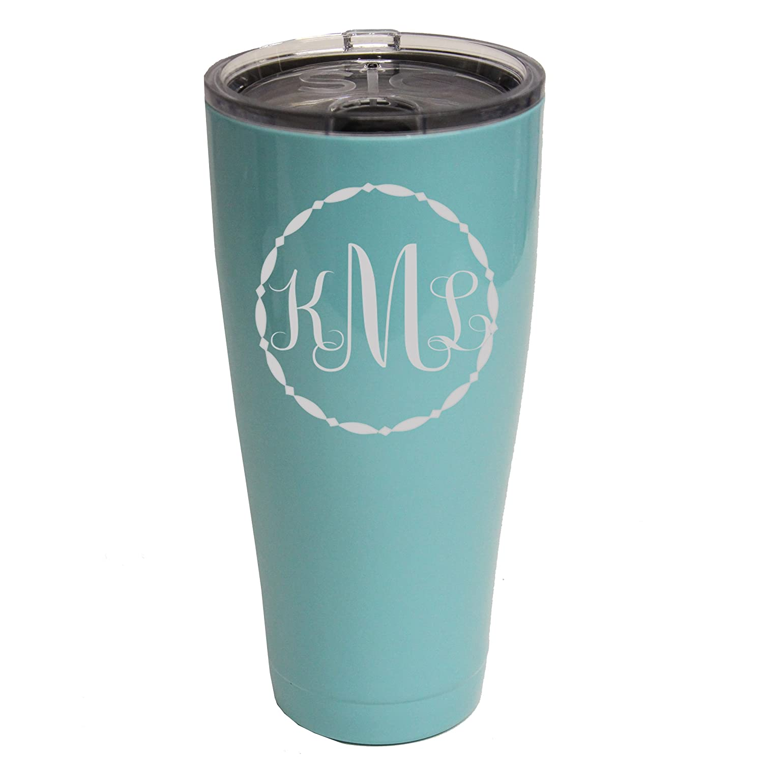 3a9bdcdc4e5 Personalized SIC Cup Tumbler - Engraved 20 oz Powder Coated Cups with  Double Walled Vacuum Sealed - Fancy Monogram Design (Seafoam Blue)