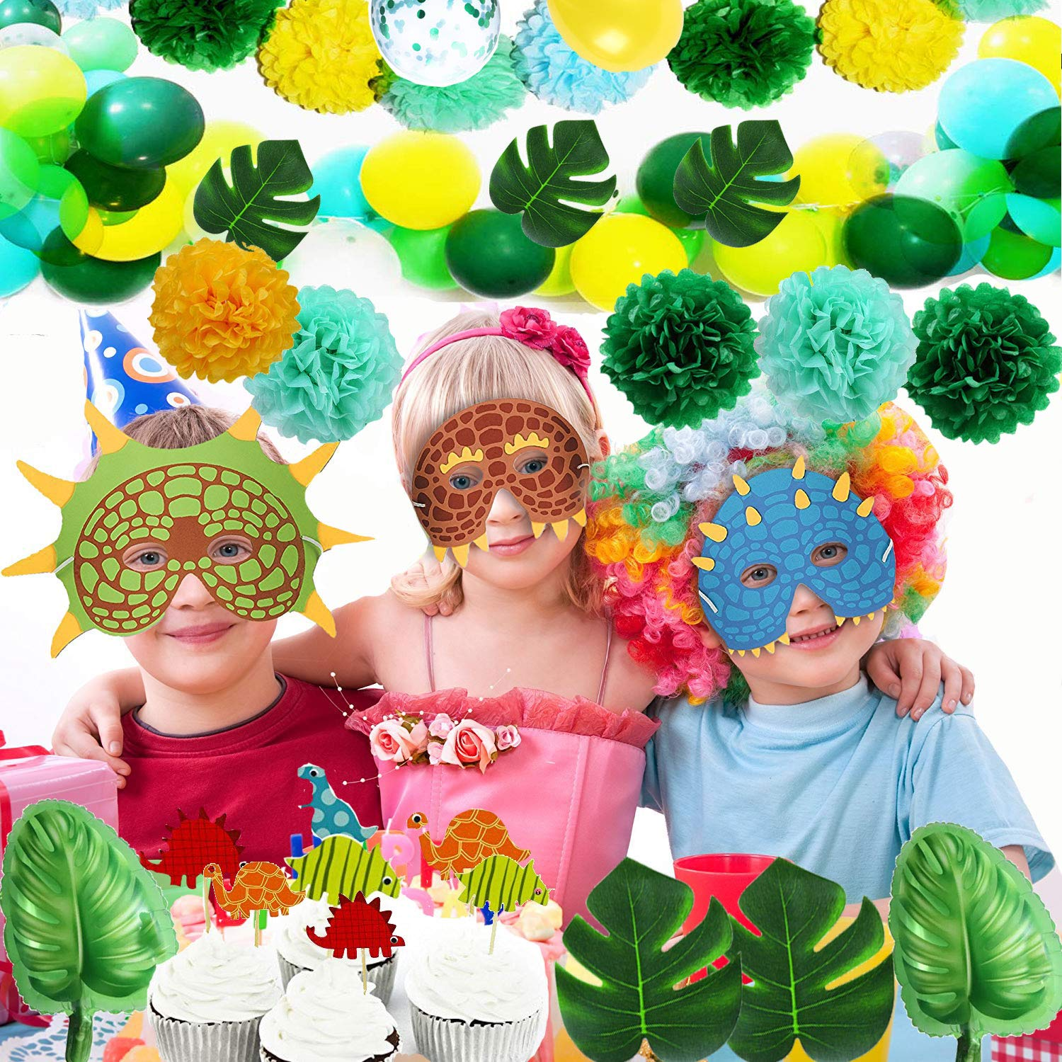 Funnlot Dinosaur Party Supplies 94PCS Dino Party Favors Including RWAR Latex Balloons Dino Masks Dino Banners Cake Toppers Tattoos Tropical palm leaves and poms flowers for/boys/Baby Shower Party