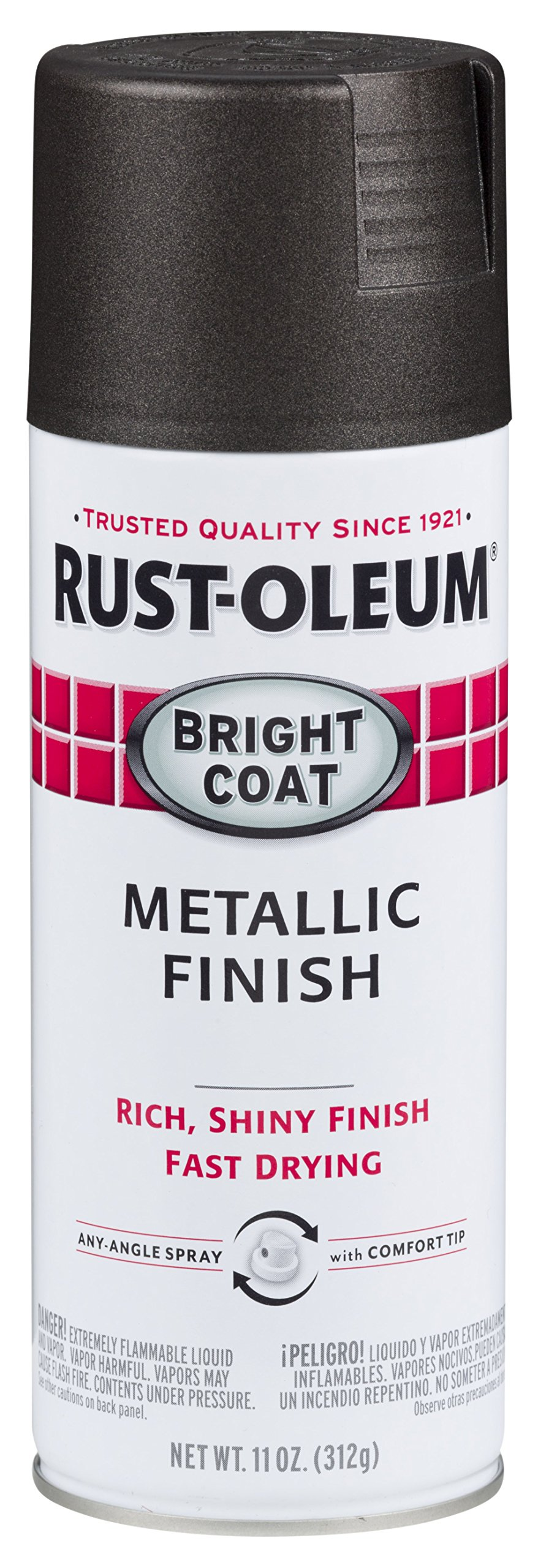 Rust-Oleum 7713830-6 PK Stops Bright Coat Spray 7713830-6 PK Bright Coat Metallic Color Spray, 11 Oz, Dark Bronze, 6 Pack, Metallic Dark Bronze