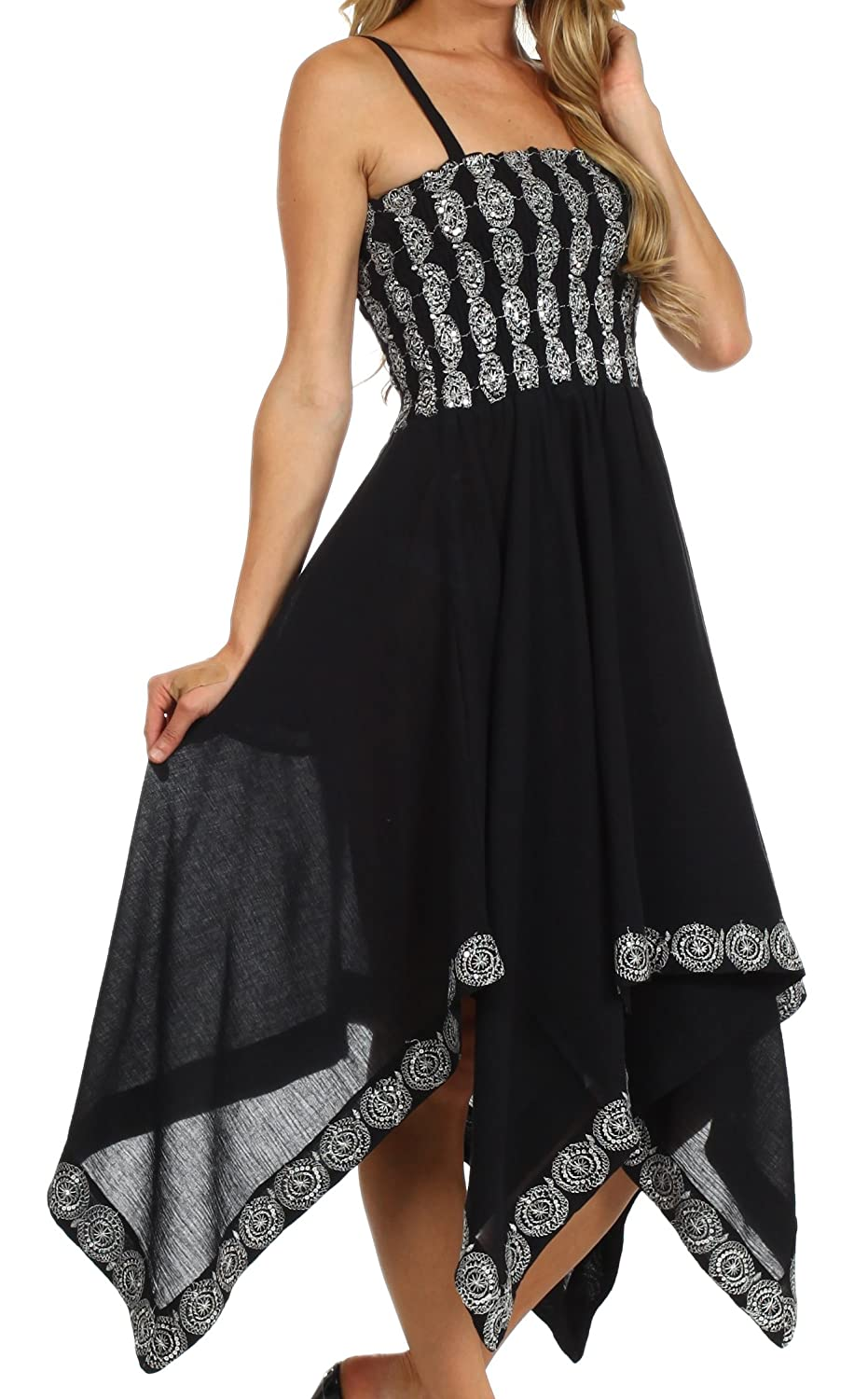 Sakkas 5502 Delia Sequin Handkerchief Hem Dress - Black - One Size at Amazon Womens Clothing store: