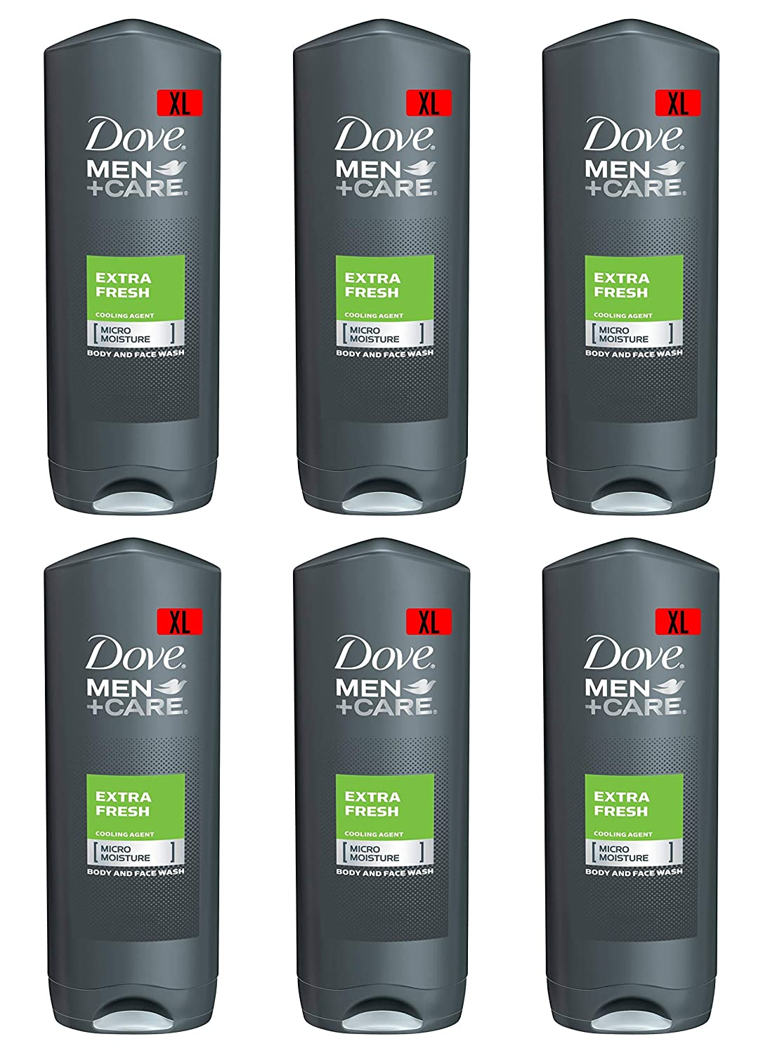 Dove Men Care Body & Face Wash, Extra Fresh - 13.5 Fl Oz / 400 mL X 6 Pack Case, Made in Germany