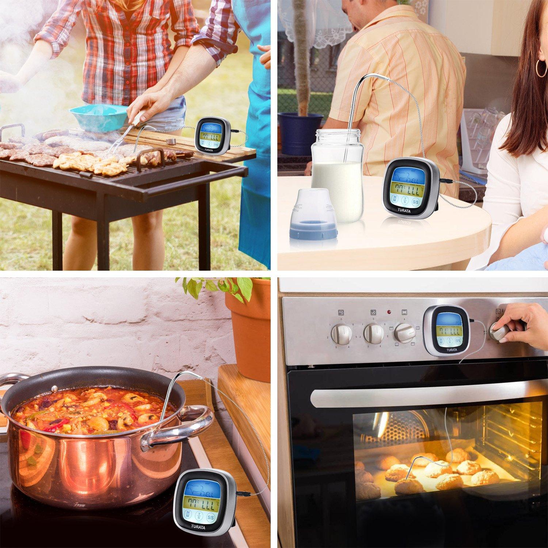 TURATA Digitales Bratenthermometer Grillthermometer BBQ Digital Thermometer Doppelsonde Ber/ühren Fleisch Thermometer mit LCD-Display