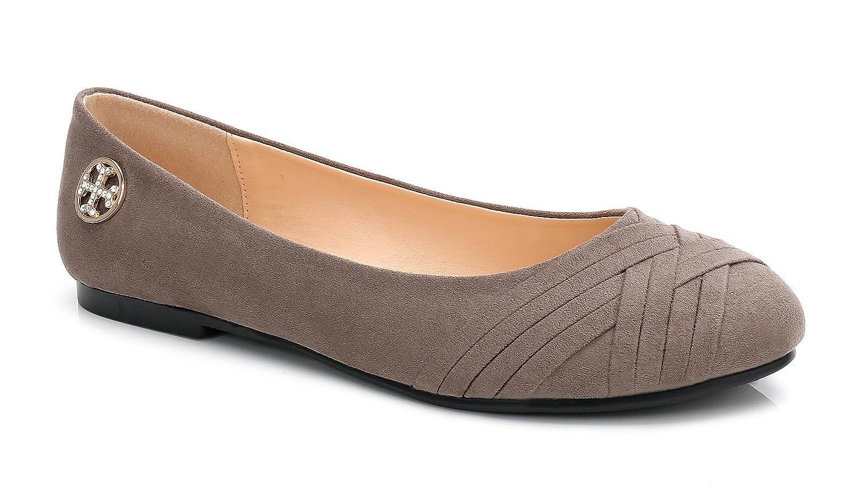 ComeShun Womens Shoes Classic Slip On Comfy Ballet Flats B0756118P7 38 EU/7 US|Grey