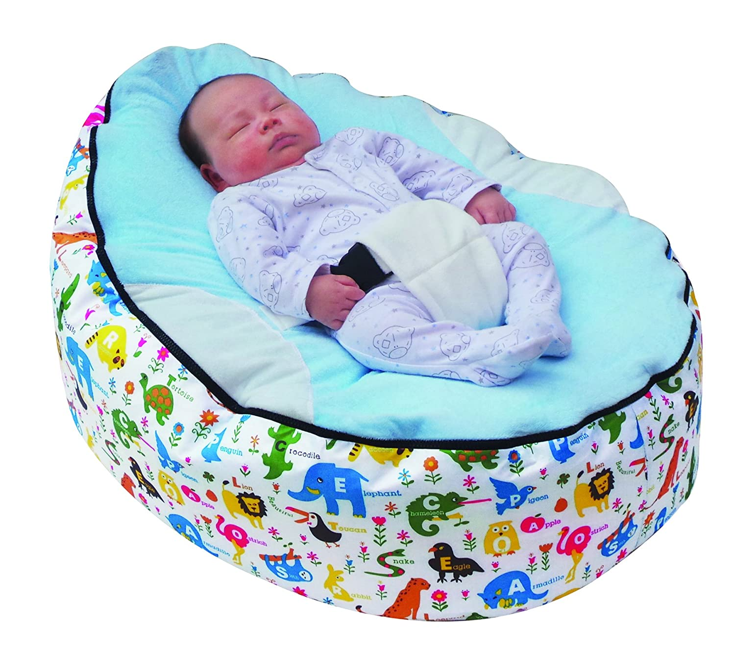BABY BEAN BAG WITH ADJUSTABLE SAFETY HARNESS & 2 COVERS Mama Baba