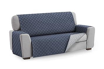 Textilhome - Funda Cubre Sofá Malu, 3 Plazas, Protector para Sofás Acolchado Reversible. Color Azul C/5