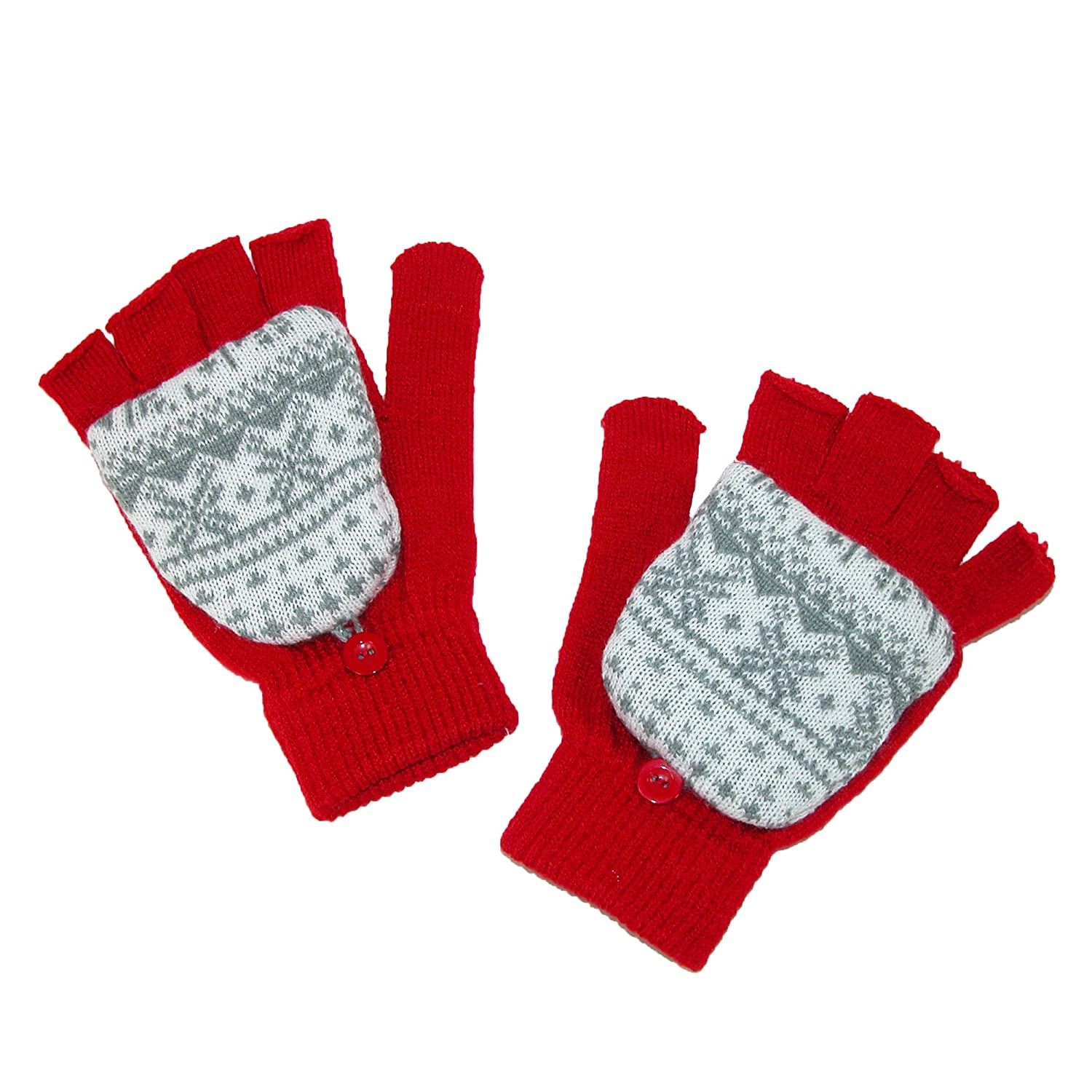 Aquarius Kids' Fairisle Print Convertible Mitten Fingerless Gloves, Red