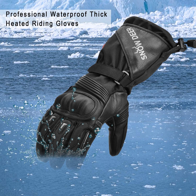 Campeggio Escursionismo Moto Riscaldamento Fino a 2,5-6Ore SNOW DEER Guanti di Riscaldamento,Moto Guanti Uomo Donna con Batteria Ricaricabile per Caccia Pesca Guida Ciclismo