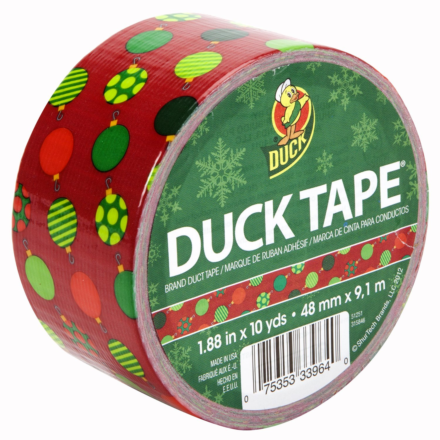 Duck Brand 281840 Printed Duct Tape, Ornaments, 1.88 Inches x 10 Yards, Single Roll