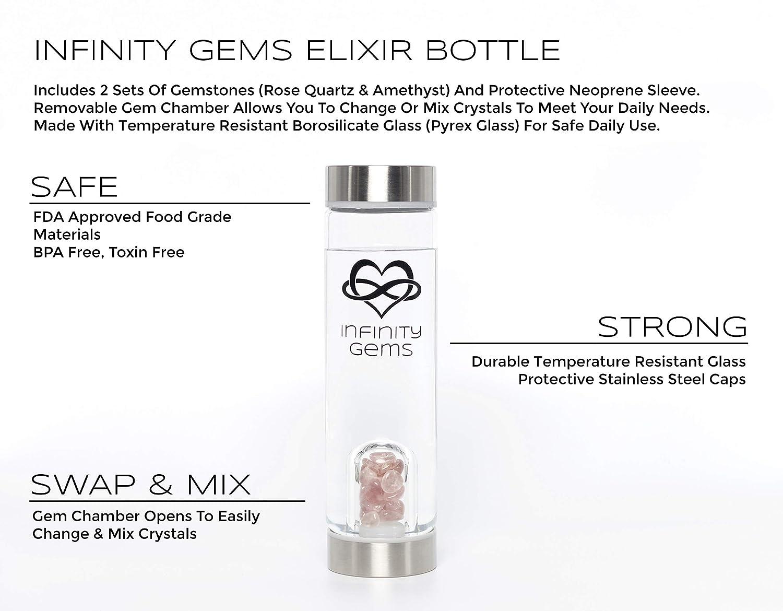 Azura Ciela Infinity Gems Crystal Water Bottle for Crystal Elixir Water +  Rose Quartz & Amethysts FDA Approved BPA Free Heat Resilient Glass Crystal