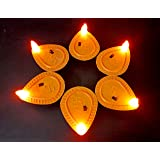 M2 Look FL Battery Operated LED Diya (Brown) - Pack of 6 Pcs