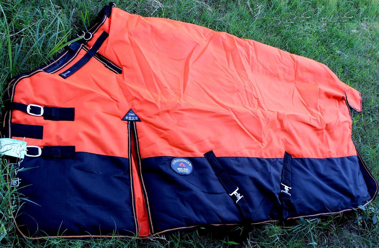 Challenger 78'' 1200D Turnout Waterproof Horse WINTER BLANKET HEAVY WEIGHT Orange 522G