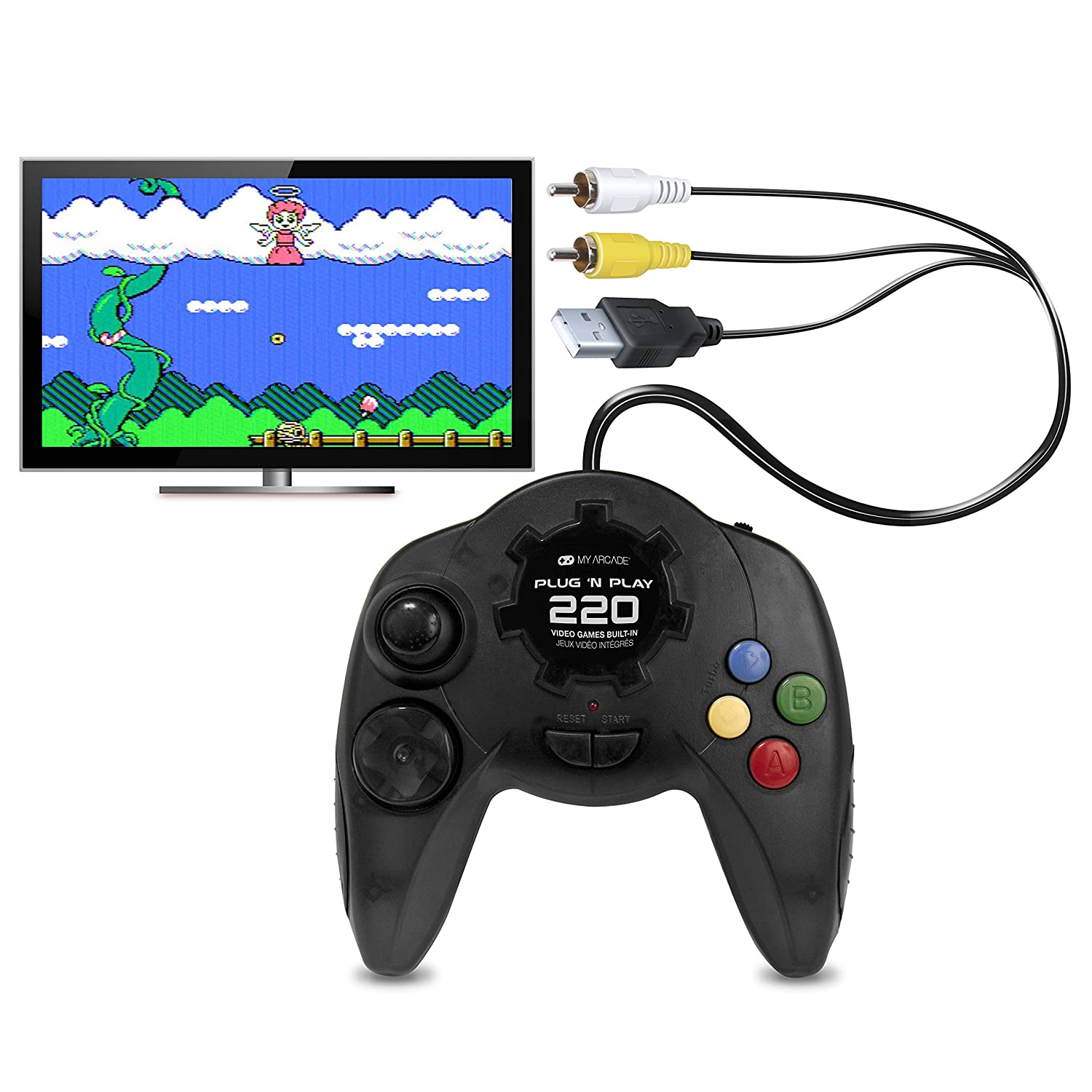 My Arcade Plug N Play TV Game Console: 220 Retro Style Games, Plugs Into TV, Battery or USB Powered, Ergonomic Controller Shape, Tactile Buttons: Video Games
