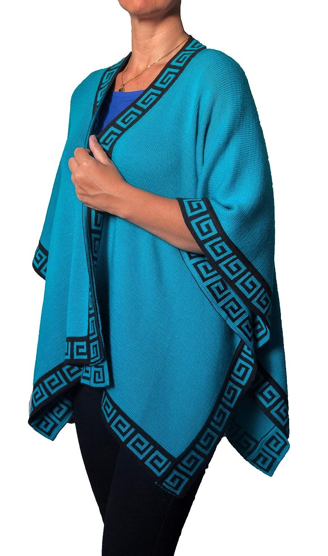 Turquoise TINKUY PERU  Peruvian Alpaca Wool  Women´s Reversible Inca Black Geometric Design  Pashmina Cape Poncho Ruana
