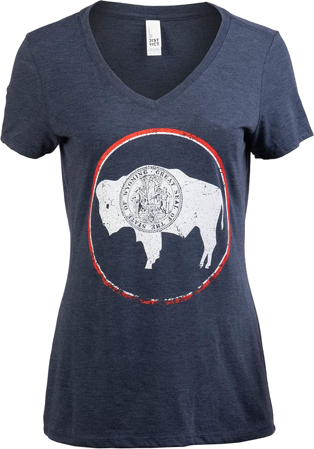 Vintage Wyoming Flag | Crest and Buffalo WY State Pride Women's V-Neck T-Shirt Top