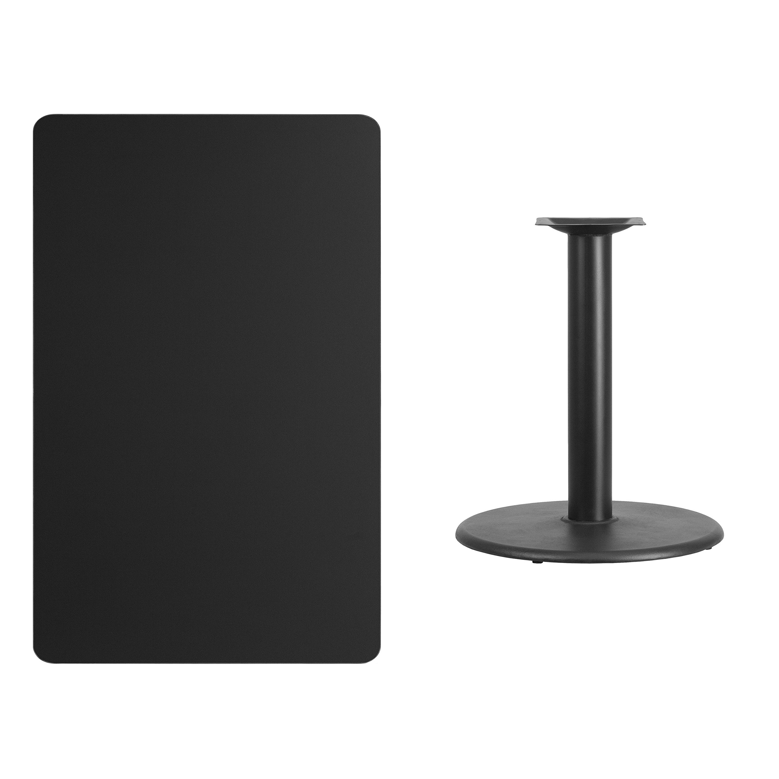 30'' x 48'' Rectangular Black Laminate Table Top with 24'' Round Table Height Base