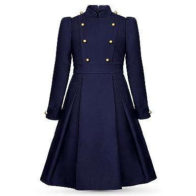 ac71988fa4c ALISIA FIORI Robe Habillée Bleu Marine Adolescente Manches Longues avec  Boutons sur Corsage et Epaules -