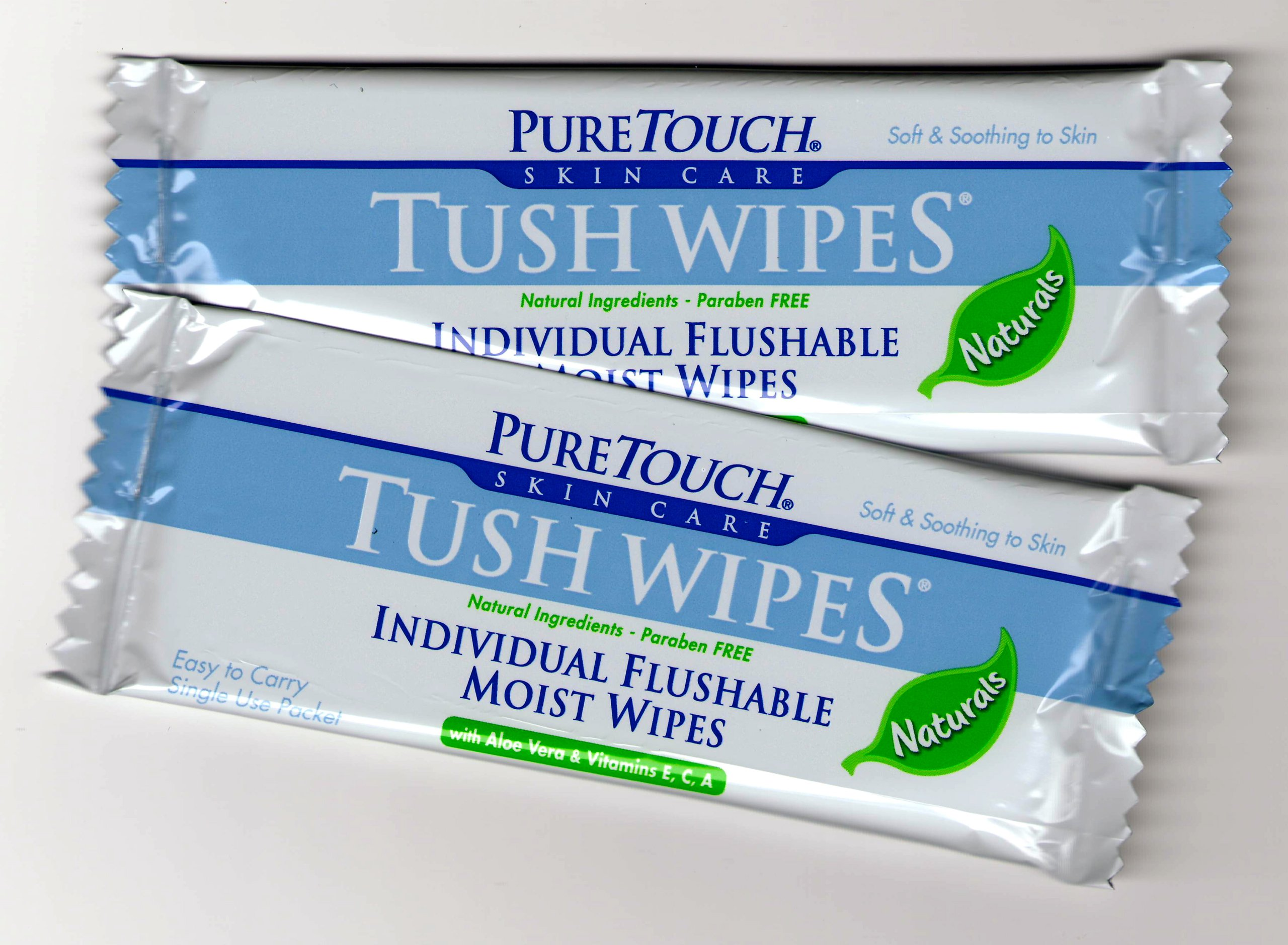 PureTouch Tush Wipes NATURALS for adults Individual Flushable Moist Wipes Bulk of 350 Single-Use-Packets