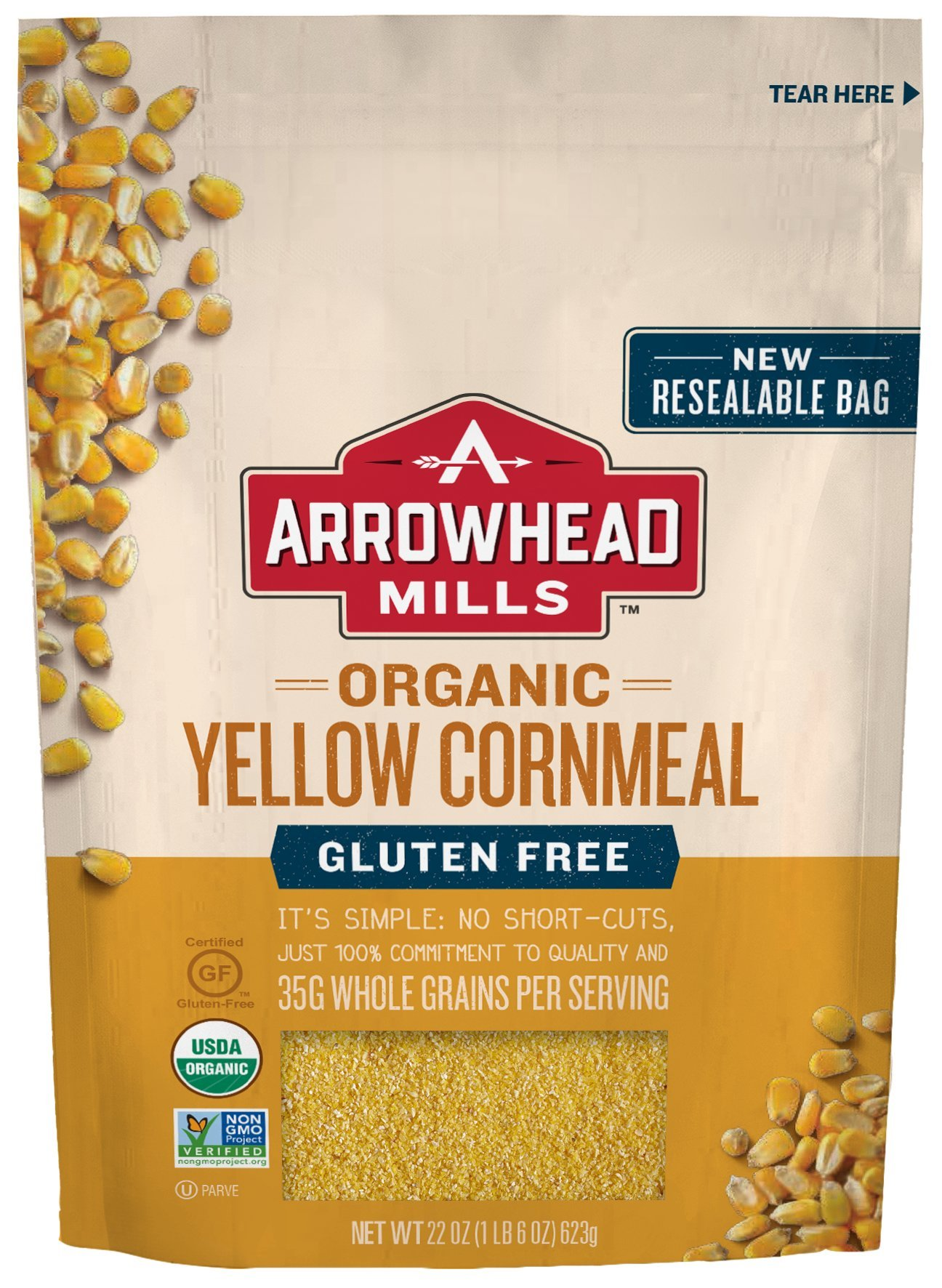 Arrowhead Mills Organic Gluten Free Yellow Corn Meal, 22 oz. Bag (Pack of 6) by Arrowhead Mills