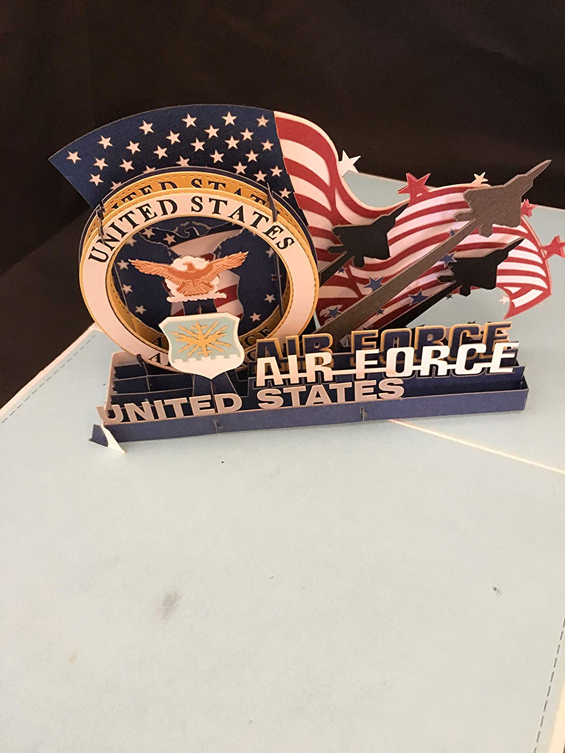 AF Military US Air Force 3D Pop Up Card Aim High Hail and Fairwell Transfer New Duty Station