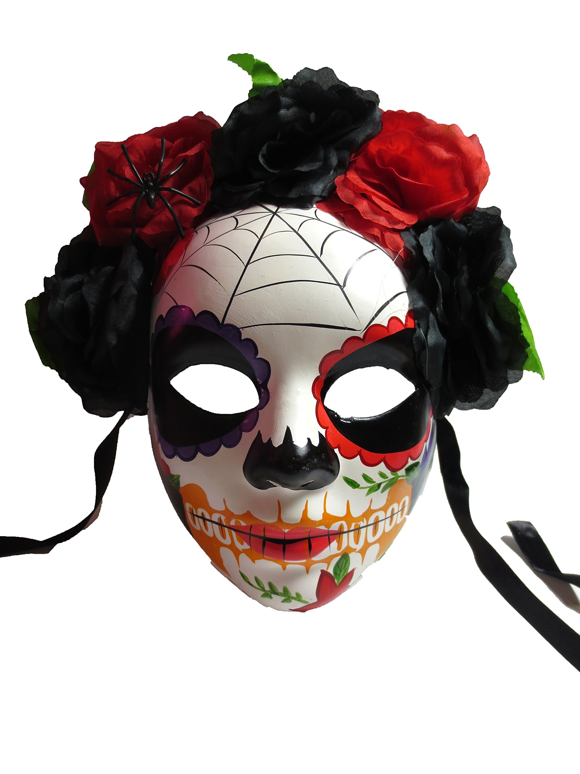Two's Company Red and Black Day of the Dead Mask with Flower Head Piece