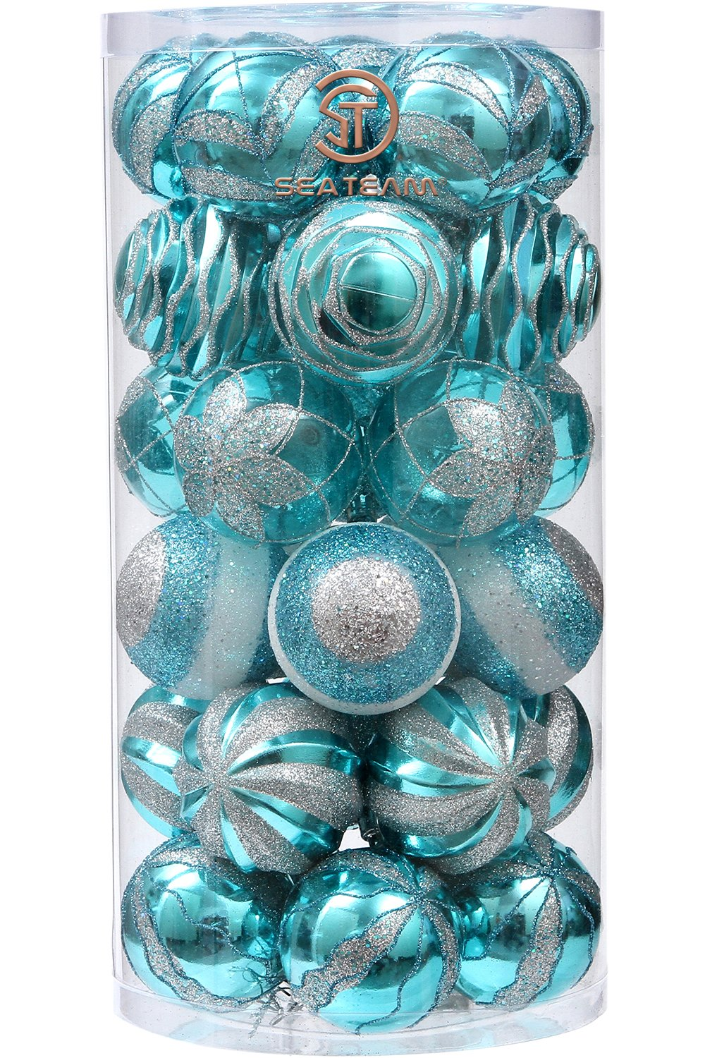 Sea Team 70mm/2.76 Decorative Shatterproof Painting & Glitering Designs Christmas Ball Ornaments Set, 30-Pack, Copper