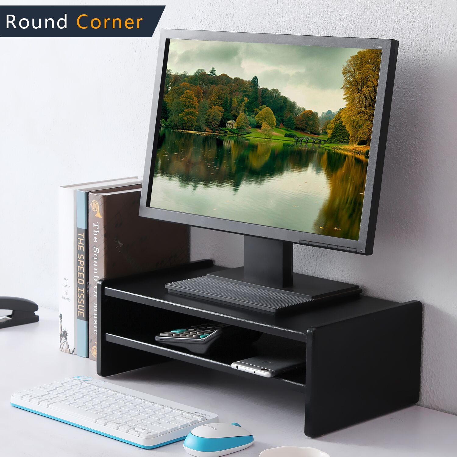 TAVR Computer Monitor Riser Two Tiers Shelves Monitor Stand 16.7 x 9.4 inch Save Space Desktop Stand CM1002