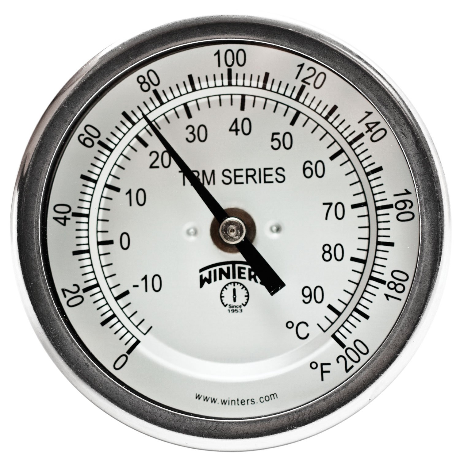 Winters TBM Series Stainless Steel 304 Dual Scale Bi-Metal Thermometer, 2-1/2'' Stem, 1/2'' NPT Fixed Center Back Mount Connection, 3'' Dial, 0-200 F/C Range by Winters Instruments