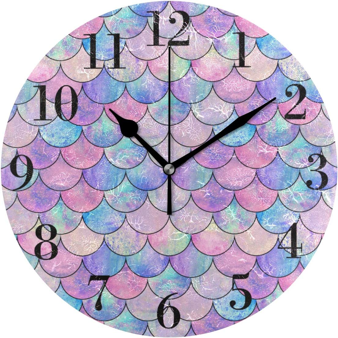 susiyo Mermaid Fish Scale Wall Clock 9.8 Inch Silent Round Wall Clock Battery Operated Non Ticking Creative Decorative Clock for Kids Living Room Bedroom Office Kitchen Home Decor
