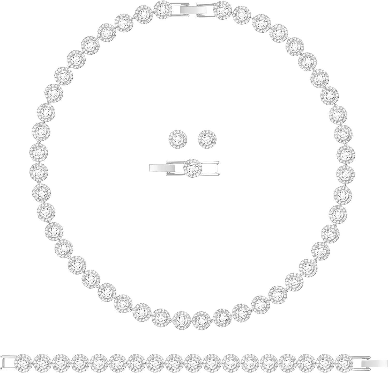 Swarovski Conjunto de collares Angelic, Blanco, Baño de Rodio