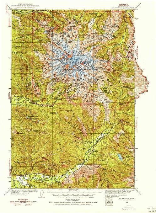Mt Rainier Topographic Map.Amazon Com Yellowmaps Mt Rainier Wa Topo Map 1 125000 Scale 30 X